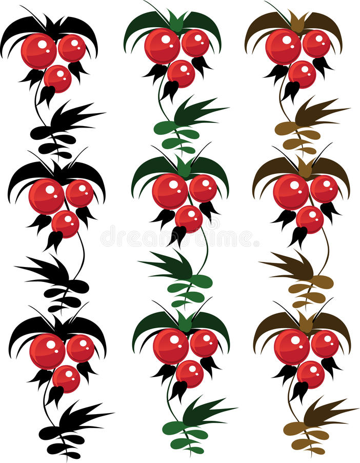 Ornaement berrys from granules. petrikovsky stock images