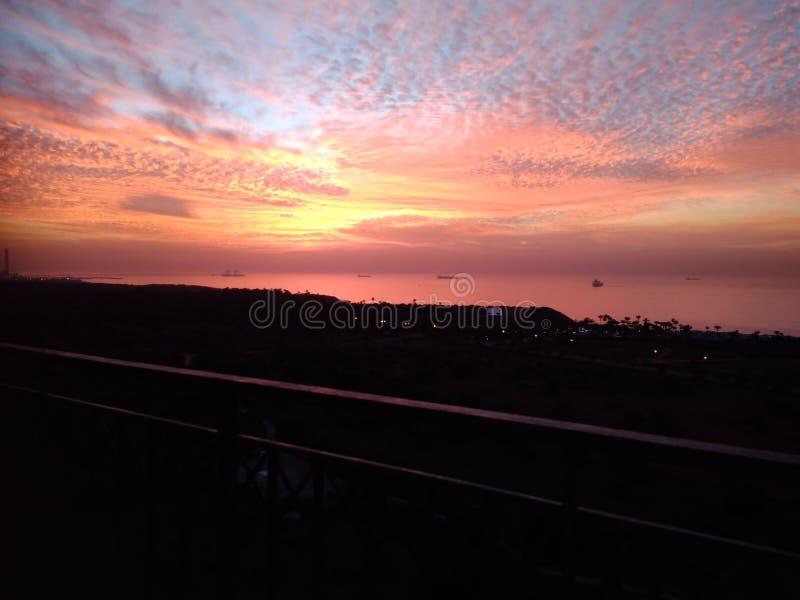 Ornage niebo i morze zdjęcia royalty free