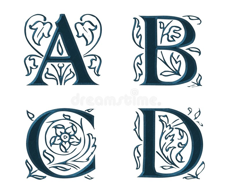 Ornam.Letters w.Leaves 1 ilustração do vetor