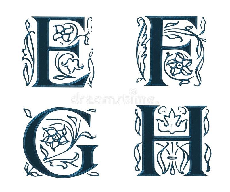 Ornam.Letters w.Leaves 2 ilustração stock
