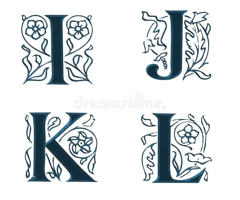 Ornam.Letters w.Leaves 3 ilustração royalty free