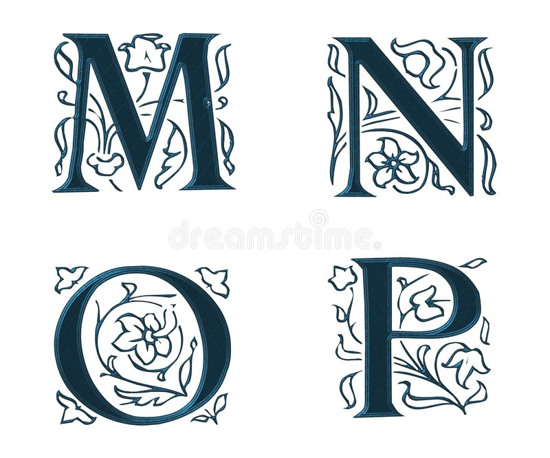 Ornam.Letters w.Leaves 4 libre illustration