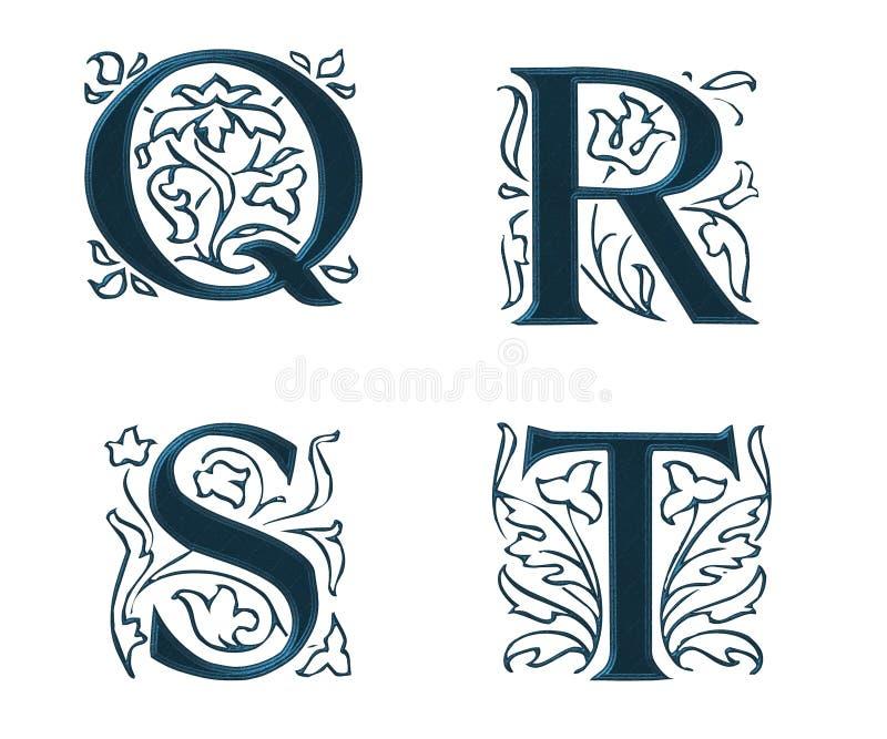 Ornam.Letters w.Leaves 5 ilustração stock