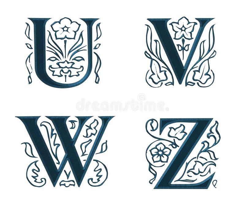 Ornam.Letters w.Leaves 6 ilustração stock