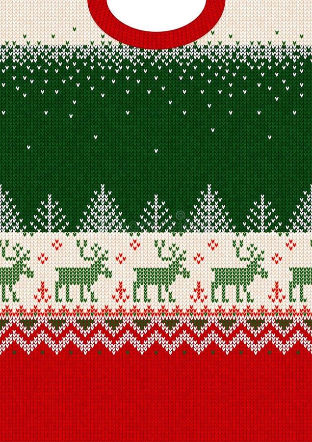 Orname för scandinavian för ram för kort för hälsning för nytt år för glad jul arkivbild