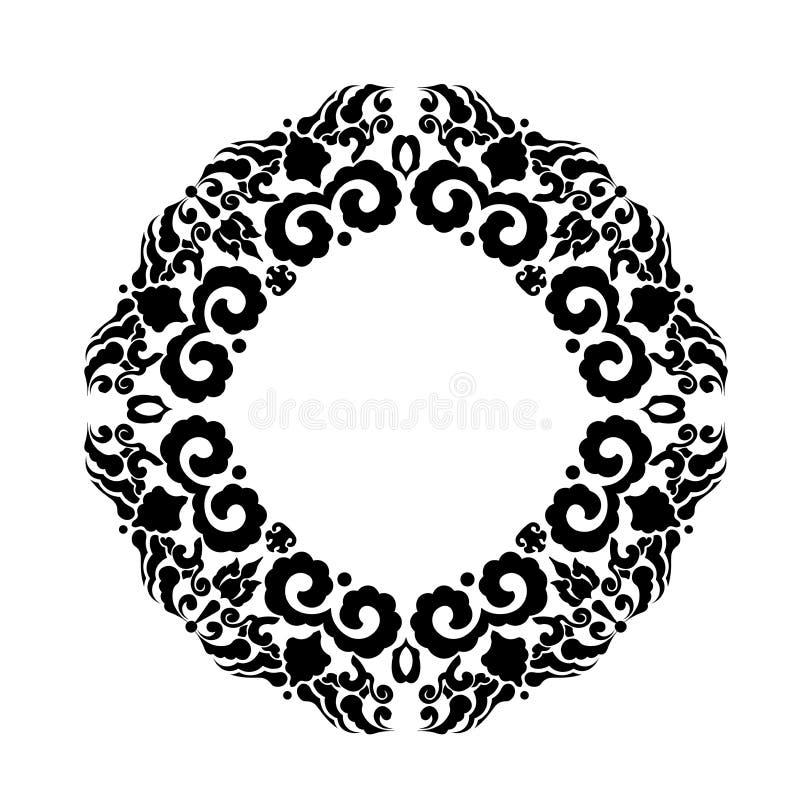 Ornamement floral negro en forma del círculo libre illustration