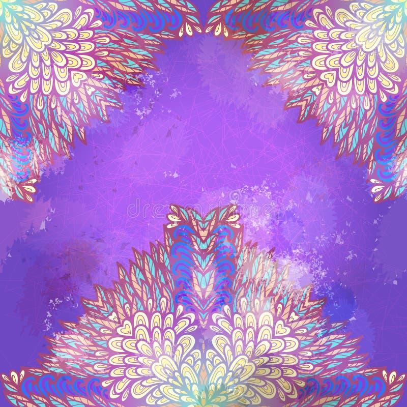 Ornamen de hand getrokken grunge violette en blauwe lavendel vector illustratie