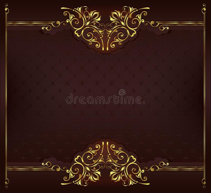Ornamentów elementów kwieciści retro kąty obramiają granica majcherów art deco projekta illustrationVintage tło z złotą koronką l royalty ilustracja