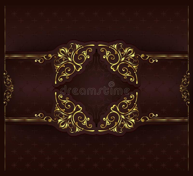 Ornamentów elementów kwieciści retro kąty obramiają granica majcherów art deco projekta illustrationVintage tło z złotą koronką l ilustracja wektor