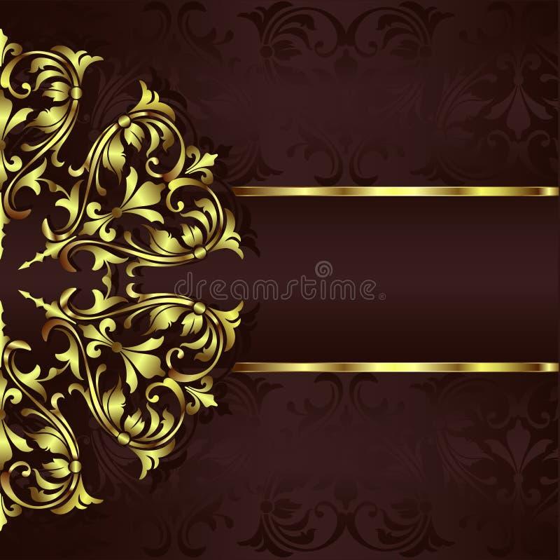 Ornamentów elementów kwieciści retro kąty obramiają granica majcherów art deco projekta illustrationVintage tło z złotą koronką l ilustracji