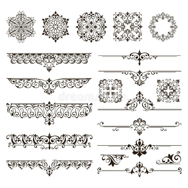 Ornamentów elementów kwieciści retro kąty obramiają granica majcherów art deco projekta ilustrację ilustracja wektor