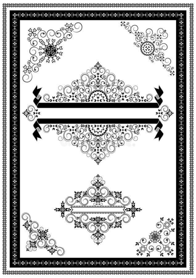 Ornamentów sztandary dla dekoracj stron i kąty ilustracja wektor
