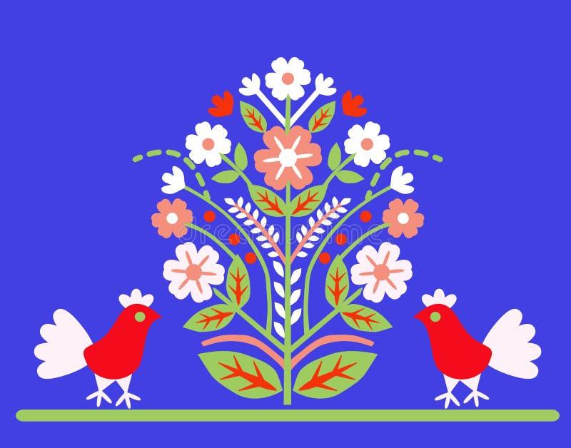 Ornament a árvore do ` do ` da vida com dois pássaros em um fundo azul ilustração royalty free