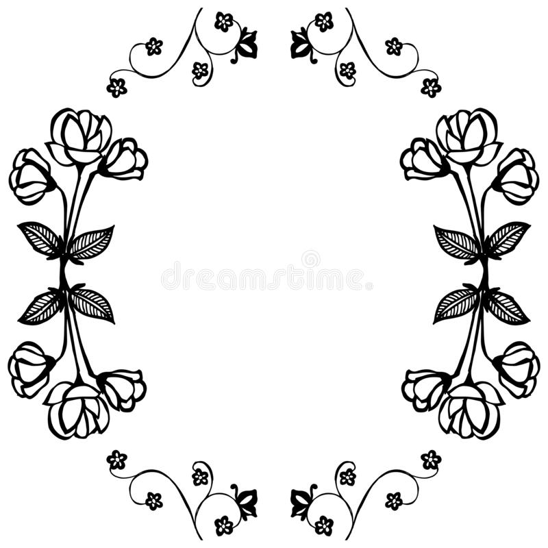 Ornament of card with feature beautiful flower, ornate frame. Vector. Illustration royalty free illustration