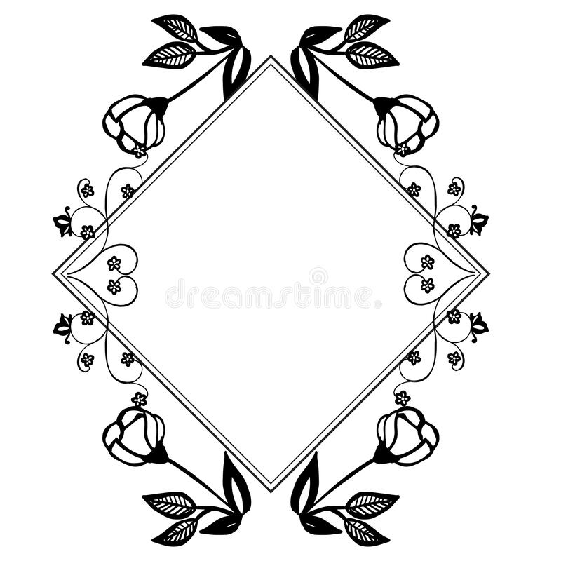 Ornament of card with feature beautiful flower, ornate frame. Vector. Illustration stock illustration