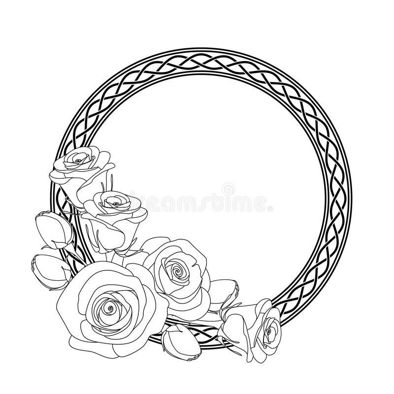 Ornament with celtic motive and roses, antistress coloring page for adults, illustration. Rounded ornament with celtic motive and roses, antistress coloring page royalty free illustration