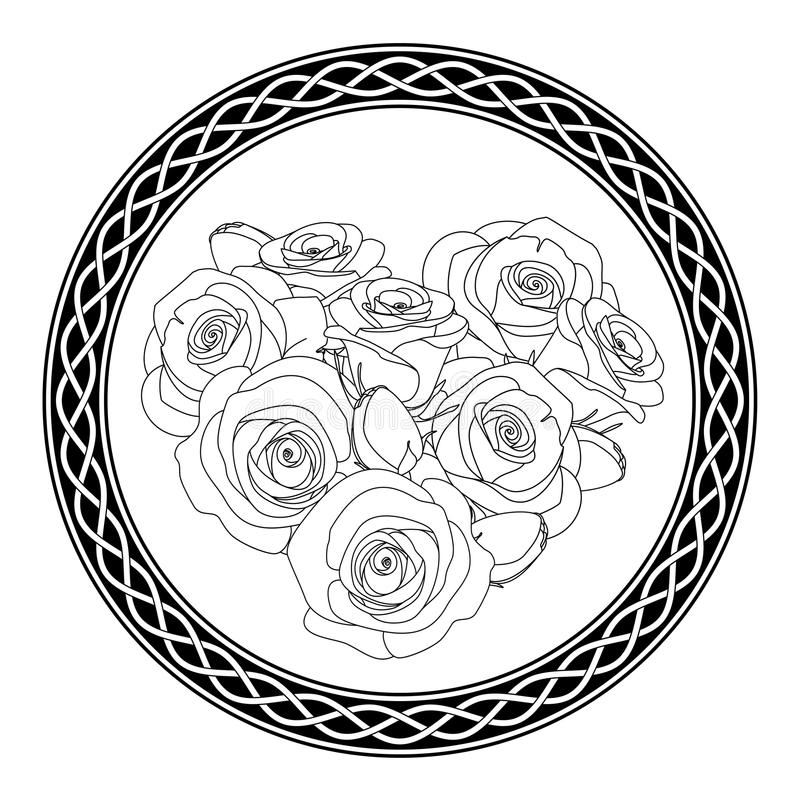 Ornament with celtic motive and roses, antistress coloring page for adults, illustration. Rounded ornament with celtic motive and roses, antistress coloring page stock illustration