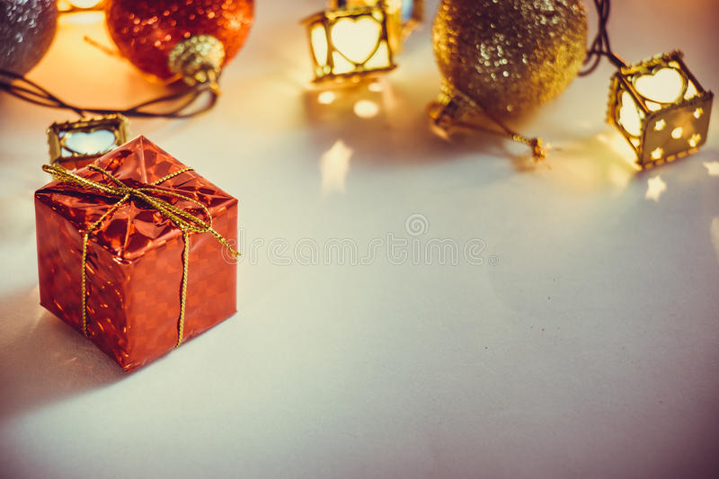 Ornament and Christmas item decorate in holy night. Ornament and Christmas items decorate for the holy night. Merry xmas and happy new year night light royalty free stock image