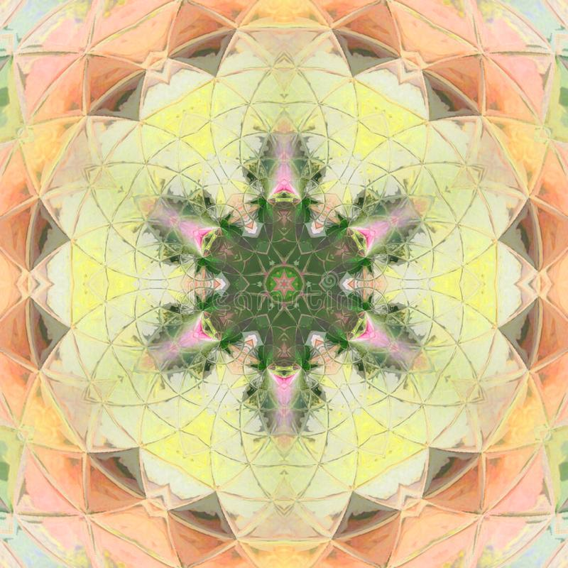 Ornament color card with mandala. Geometric circle element elegant mandala in orange and yellow royalty free stock photo