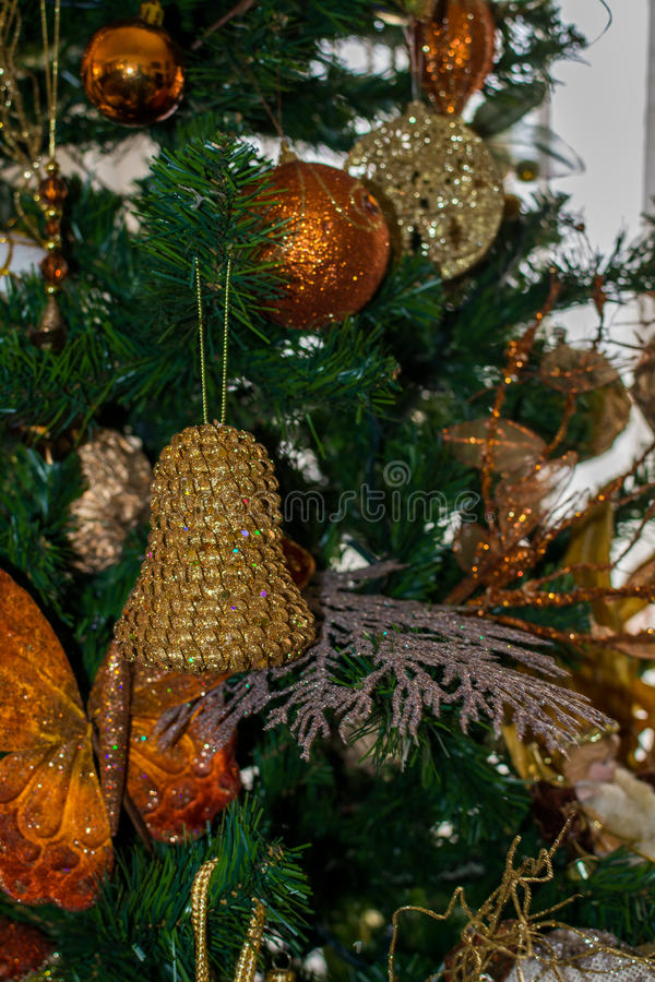 Ornament from a decorated Christmas tree stock image