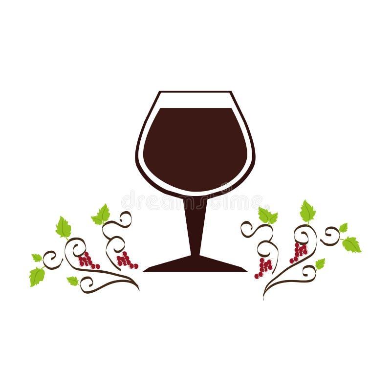 Ornament decoratieve druiven en bladeren met kopwijn vector illustratie