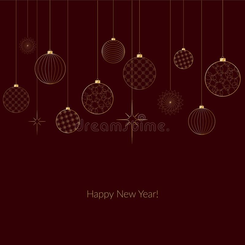 Ornament of decorative light New Year`s golden balls for Christmas and New Year Pattern for postcard invitation advertising Winter. Ornament of decorative light royalty free illustration