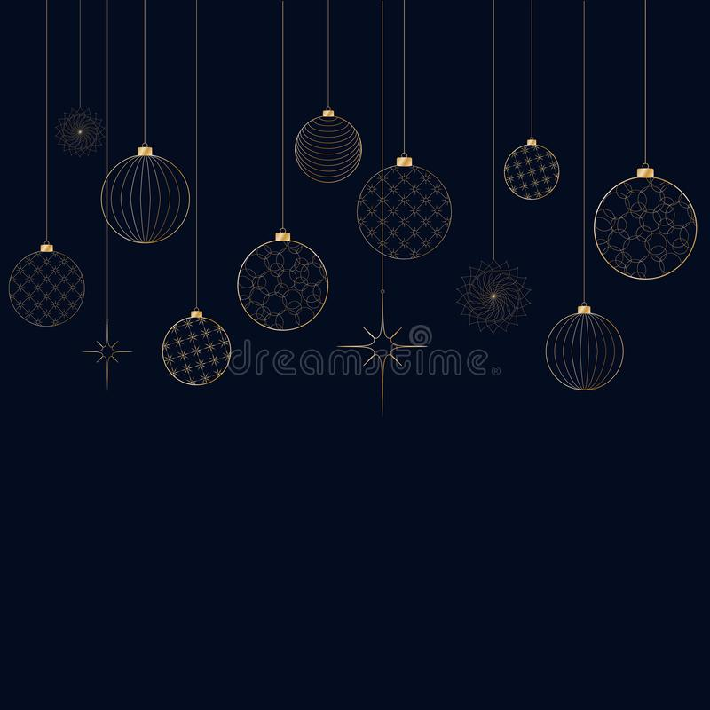Ornament of decorative light New Year`s golden balls for Christmas and New Year Pattern for postcard invitation advertising Winte. Ornament of decorative light royalty free illustration