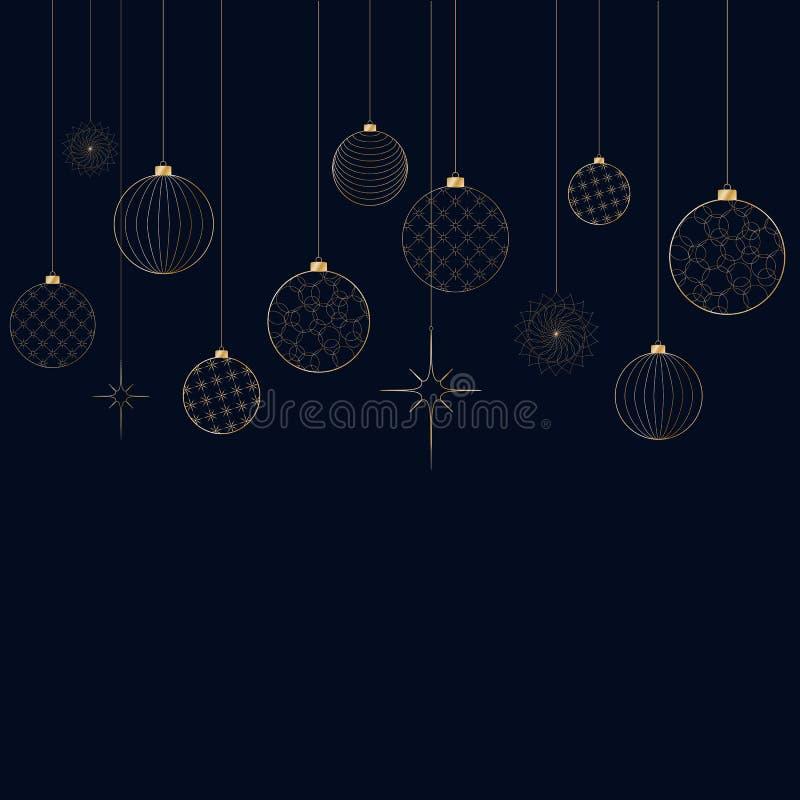 Ornament dekoracyjnego lekkiego nowego roku złote piłki dla bożych narodzeń i nowego roku wzór dla pocztówkowego zaproszenia rekl royalty ilustracja