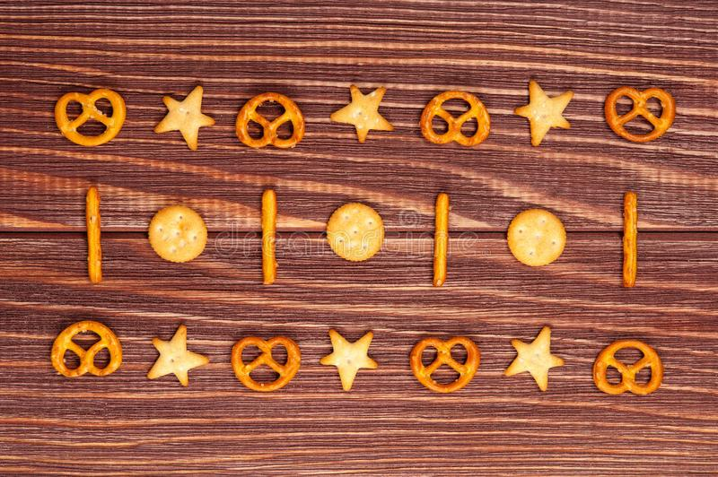 Ornament different cookies crackers background stock photography