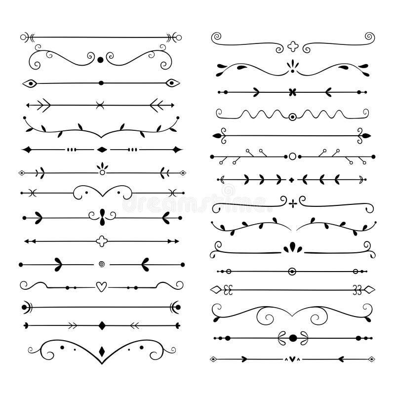 Free Ornament Dividers. Text Line Vintage Design Element, Wedding Decoration Separators. Retro Drawn Book Ornamental Divider Stock Photography - 145757212
