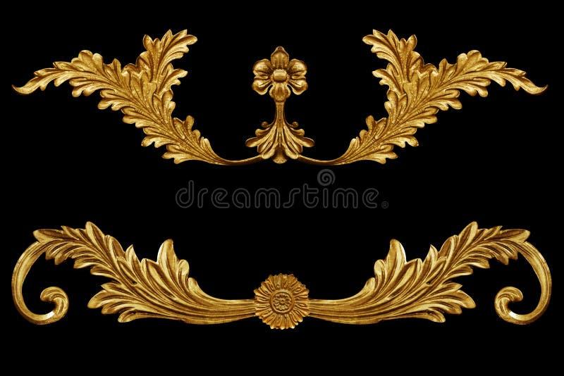 Ornament elements, vintage gold floral designs. Ornament elements, vintage gold floral stock image