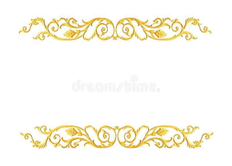 Ornament elements, vintage gold floral designs. The Ornament elements, vintage gold floral designs stock image