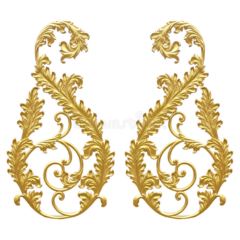 Ornament elements, vintage gold floral designs.  stock photo