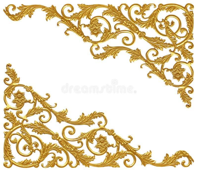 Ornament elements, vintage gold floral designs.  stock photography