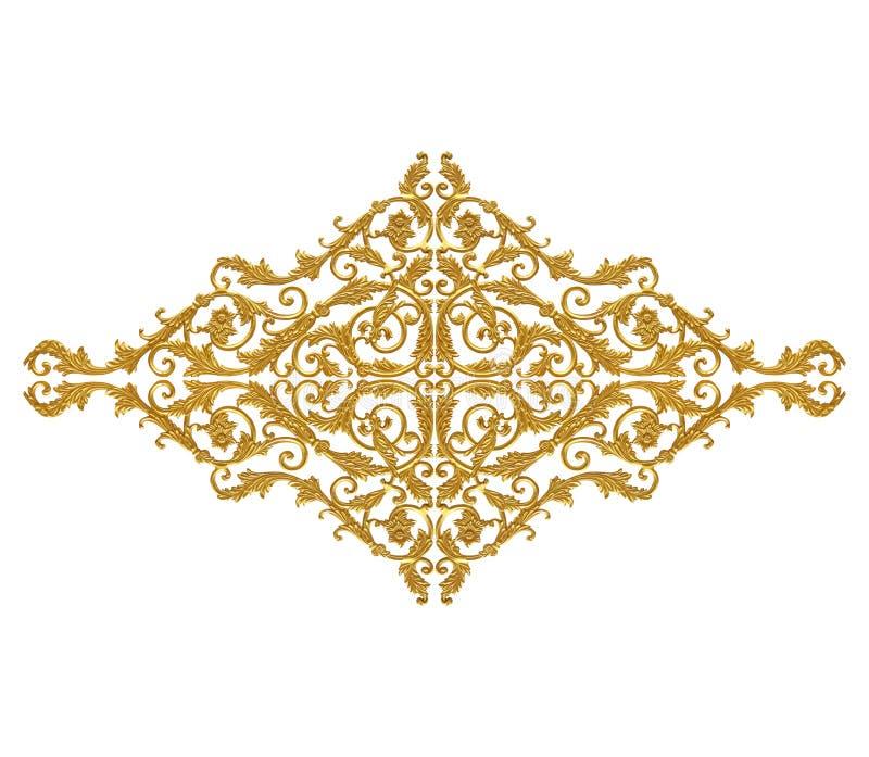 Ornament elements, vintage gold floral designs.  stock image
