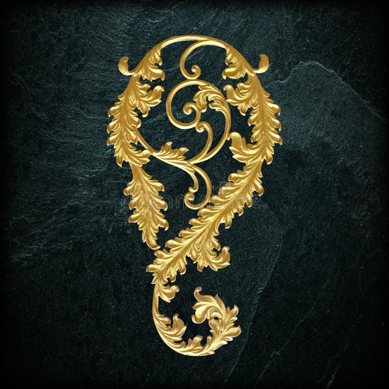Ornament elements, vintage gold floral designs. On black slate background or texture royalty free stock image