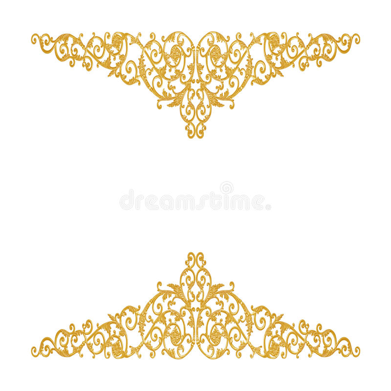 Ornament elements, vintage gold floral designs. Isolate stock image
