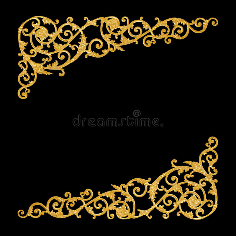 Ornament elements, vintage gold floral designs. Isolate royalty free stock images
