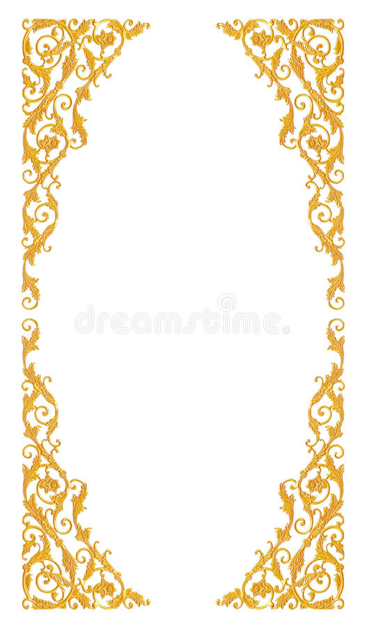 Ornament elements, vintage gold floral designs. Isolate on white royalty free stock image
