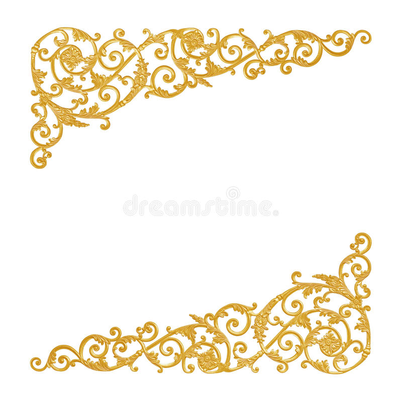 Ornament elements, vintage gold floral designs. Isolate on white royalty free stock images