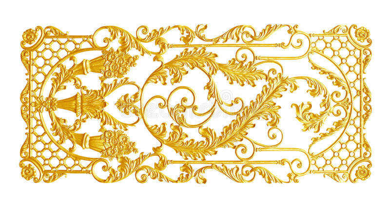 Ornament elements, vintage gold floral designs. Isolated stock photos