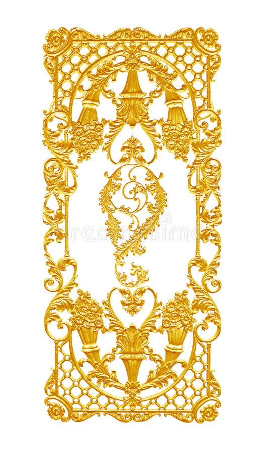 Ornament elements, vintage gold floral designs. Isolated stock image