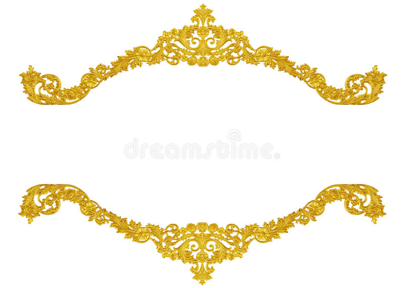 Ornament elements, vintage gold floral designs. Isolated stock photography