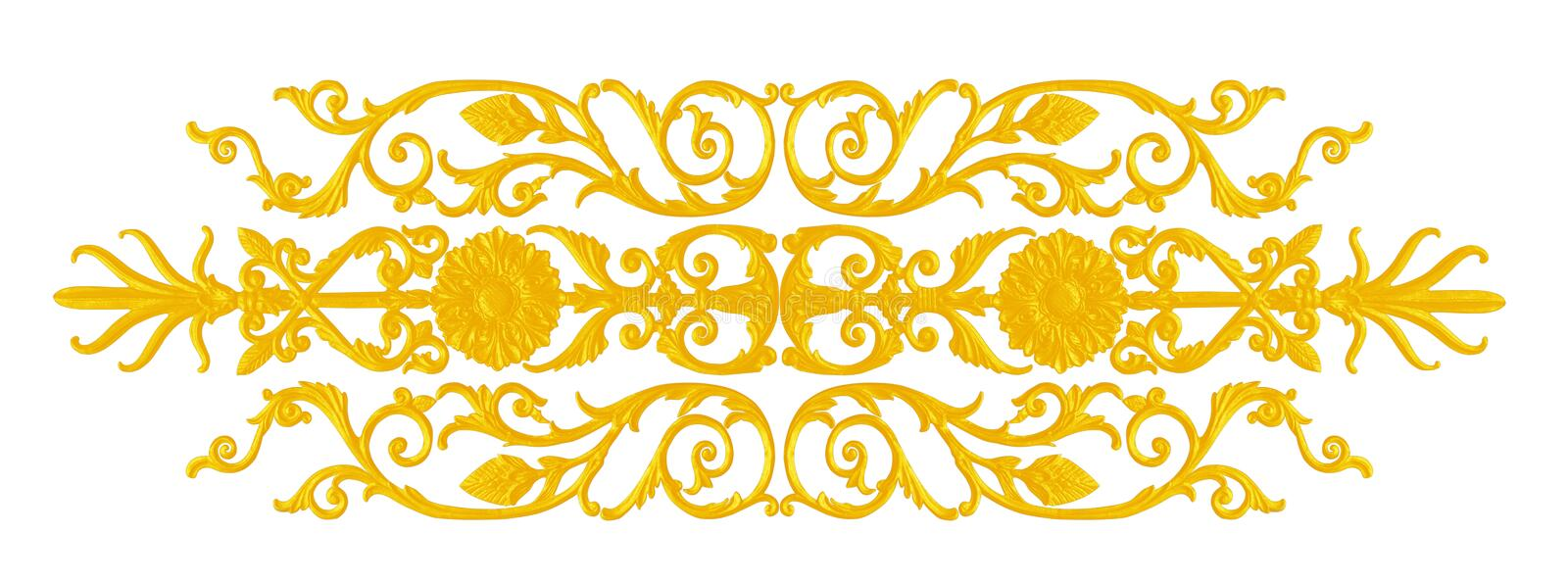 Ornament elements, vintage gold floral designs. The Ornament elements, vintage gold floral designs isolated on white background stock photography