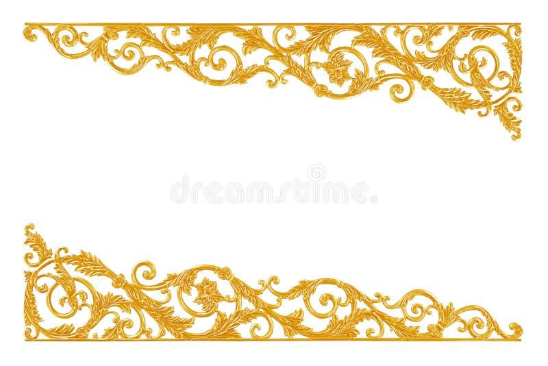 Ornament elements, vintage gold floral designs. Pattern royalty free stock images