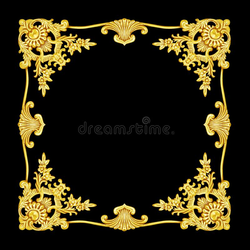 Ornament elements, vintage gold floral metat designs.  royalty free stock photo