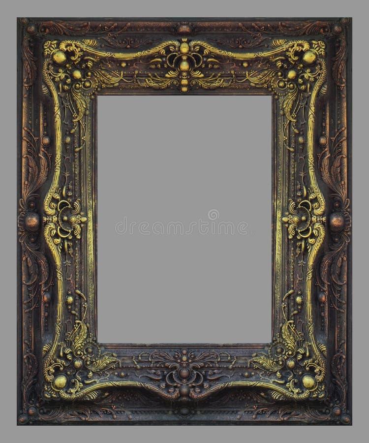 Ornament elements, vintage gold frame. Floral designs stock photo