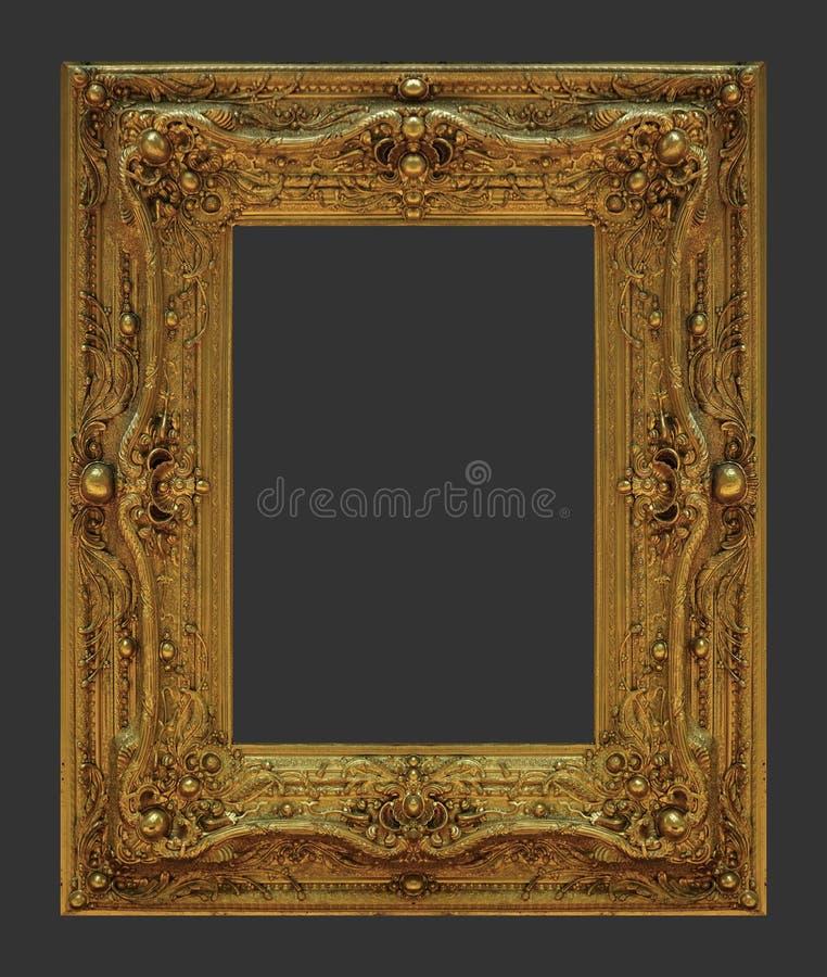 Ornament elements, vintage gold frame flora. L designs royalty free stock image