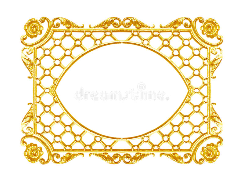 Ornament elements, vintage gold frame floral designs. Isolated on white background stock images