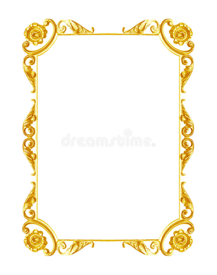 Ornament elements, vintage gold frame floral designs. Isolated on white background stock photography